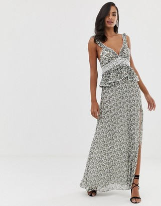 The Jetset Diaries dazed and confused ruffle maxi dress-Multi