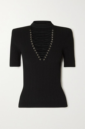 Balmain Lace-up Ribbed-knit Top - Black