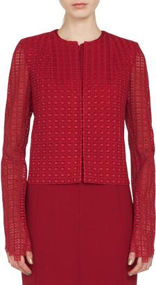 Akris Sydney Round-Neck Zip-Front Embroidered Short Jacket