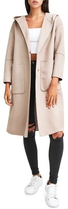 Belle & Bloom Walk This Way Sand Wool Blend Oversized Coat