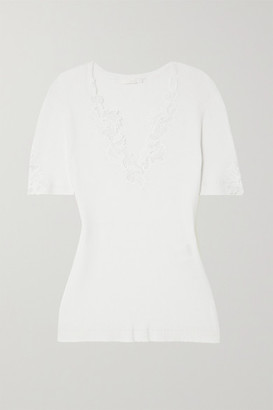 Chloé Guipure Lace-trimmed Ribbed Cotton Top - White