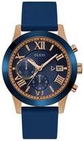 GUESS Men's Blue and Rose Gold-Tone Watch