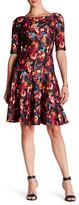 Taylor Multi-Seamed Floral Fit & Flare Scuba Dress