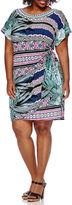 Robbie Bee Short-Sleeve Side-Tie Printed Sheath Dress - Plus