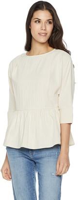 Plumberry Women's 3/4 Sleeve Zipper Back Peplum Top Small Off White
