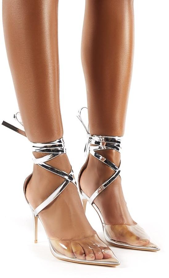 Stiletto Perspex Lace Up Devote Heels QhBCdtsrxo