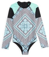 Seafolly Girl's Aztec Tapestry One-Piece Rashguard Swimsuit