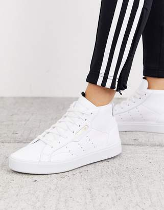adidas Sleek Mid Top trainer in white and grey