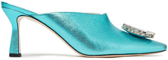 Wandler Lotte Crystal-embellished Metallic Pebbled-leather Mules