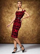 New York & Co. Flocked-Velvet Cold-Shoulder Dress