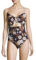 Michael Kors Outline Floral One-Piece Swimsuit