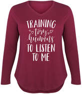 Instant Message Plus Women's Tee Shirts WINE - Wine 'Training Tiny Humans' Long-Sleeve Tee - Plus