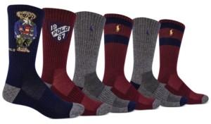 Polo Ralph Lauren Men's 6-Pk. Camo Blazer Bear Crew Socks