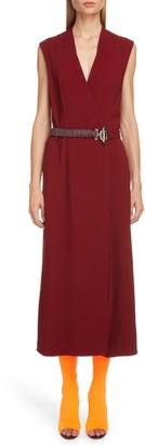 Victoria Beckham Surplice Midi Dress with Leather Belt