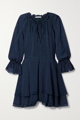Alice + Olivia Joanne Crochet-trimmed Fil Coupe Chiffon Mini Dress