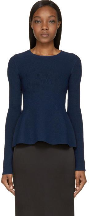 Calvin Klein Collection Navy Tenchical Mesh Sonya Sweater