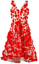 Marchesa floral appliqué flared dress - women - Nylon/Polyester - 4