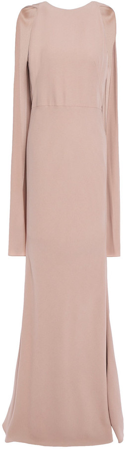 Alexander McQueen Cape-effect Pleated Crepe Gown
