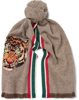 Gucci Appliquéd Fringed Wool and Cashmere-Blend Scarf