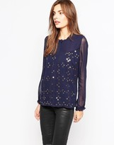 French Connection Million Stars High Neck Shirt In Nocturnal