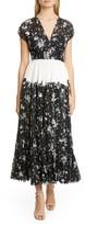 Lela Rose Pleated Contrast Waist Lace Midi Dress