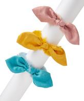 Picki Nicki Girls' Hair Ties yellow, - Fluffy Bunny Ears Pink, Yellow and Aqua Scrunchie Set of 3