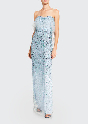 Pamella Roland 3D-Flower Embroidered Strapless Gown