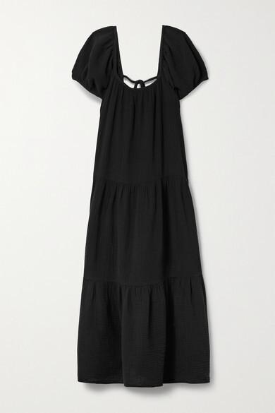 Thumbnail for your product : HONORINE Elodie Cotton-gauze Midi Dress - Black