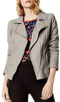 Karen Millen Washed Leather Biker Jacket