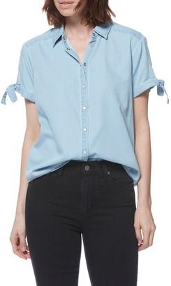 Paige Avery Tie Short Sleeve Snap Chambray Shirt