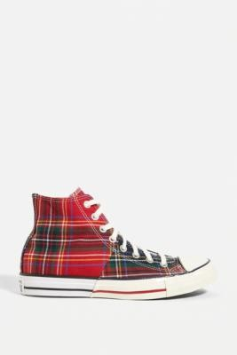 Converse Chuck Taylor All Star Plaid High-Top Trainers - Red UK 3 at Urban Outfitters