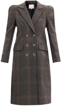 Tibi Mats Padded-shoulder Checked Wool-blend Coat - Black Grey