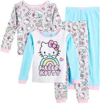 Hello Kitty Licensed Character Toddler Girl 4 Piece Pajama Set