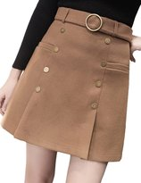 MFrannie Women Double Breasted Belted Slim A Line Warm Woolen Skirt XXS