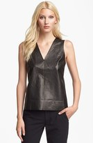 Vince Leather & Silk Shell