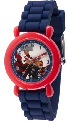 Marvel Avenger Assemble America Boys' Red Plastic Time Teacher Watch, Blue Silicone Strap