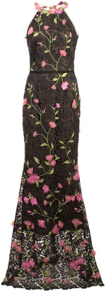 Marchesa Lace Fitted Long Dress