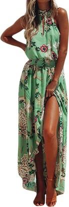 Clemunn Women Dress 2018 Fashion Womens Summer Dashiki Dress Casual Sexy Deep V-Neck Traditional African Print Boho Party Dresses (Green M)