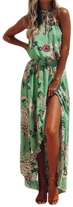 Clemunn Women Dress Clearance! 2018 Fashion Womens Summer Dashiki Dress Casual Sexy Deep V-Neck Traditional African Print Boho Party Dresses (Green M)