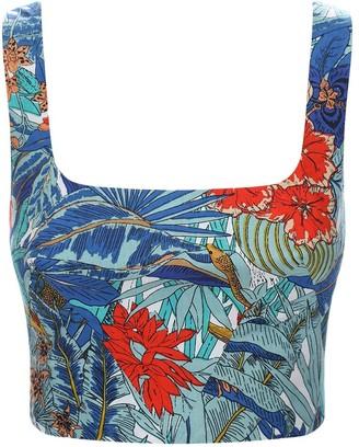 Le Sirenuse Positano Cinderella Tiger Print Cotton Crop Top