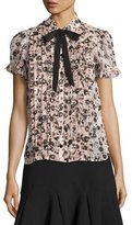 Kate Spade Pleated Silk Chiffon Posy Grove Blouse, Neutral