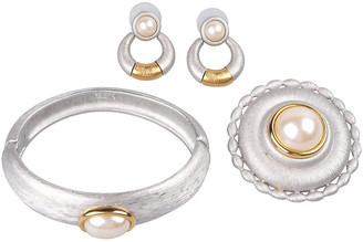 One Kings Lane Vintage Monet Silvertone Faux-Pearl Suite - Galleria d'Epoca - silver/gold/white