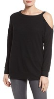 Gibson Petite Women's Open Shoulder Fleece Top