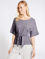 Marks and Spencer Linen Rich Tie Front Half Sleeve Shell Top