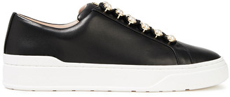 Stuart Weitzman Faux Pearl-embellished Leather Sneakers