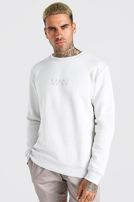 boohoo Mens Grey Original MAN Crew Neck Sweatshirt, Grey