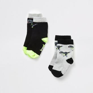 River Island Mini boys black dinosaur socks 2 pack