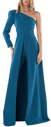Kay Unger One Shoulder Lola Stretch Crepe Gown