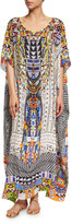 Camilla Printed Embellished Round-Neck Maxi Caftan Coverup