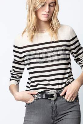 Zadig & Voltaire Source Stripes Punk 3D Strass Cashmere Sweater
